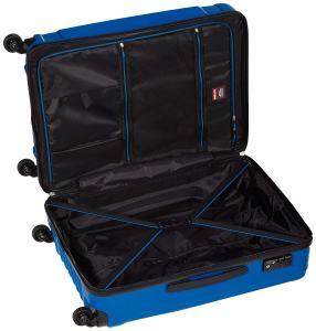 Blauer Hartschalenkoffer von innen