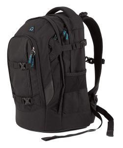 Schwarzer Rucksack von der Seite