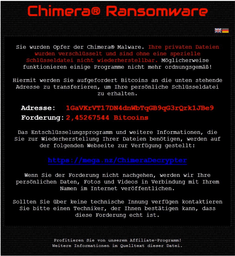 Ransonware Chimera Tela