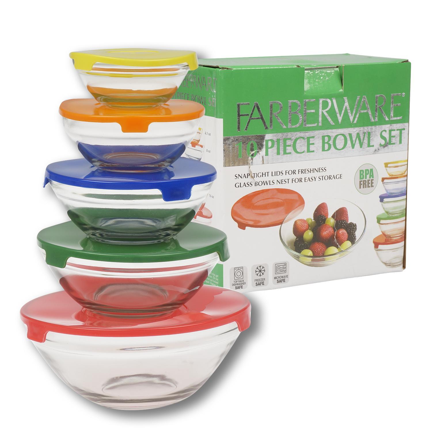 new farberware 10 pc glass bowl set w