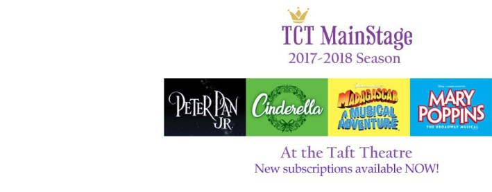 The Children's Theatre Of Cincinnati's 2017-2018 season presents: Peter Pan JR, Cinderella Christmas Hoilday, Madagascar: A Musical Adventure, Mary Poppins JR