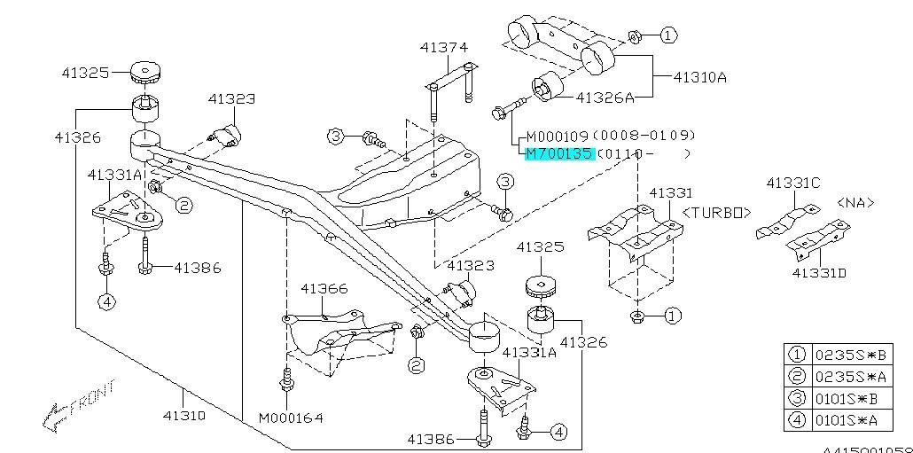 flange bolt rear differential mounting subaru impreza wrx sti 2001 2007 901700135