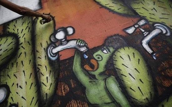 Mural del artista Mundano para denunciar la sequía en Sao Paulo (Foto: internet)