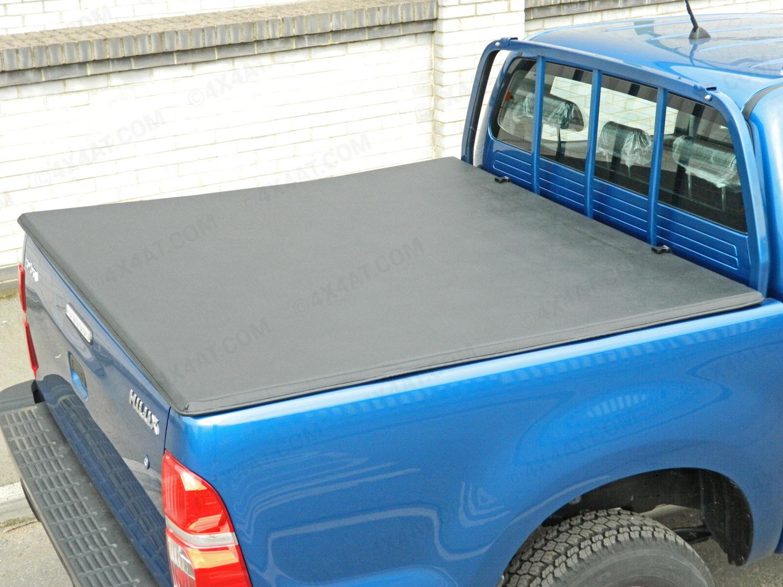 toyota hilux 2005 12 double cab soft tri folding tonneau cover with ladder rack