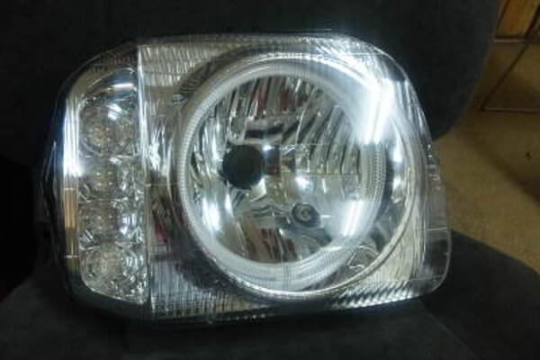 ジムニーJB23 イカリング/LEDウインカーヘッドライト クローム