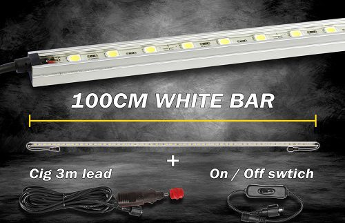 Light Bar White 100cm + Cigarette Lead & ON/Off Switch