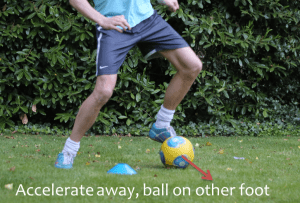 Two touch dribble step 3, 5-a-side skill