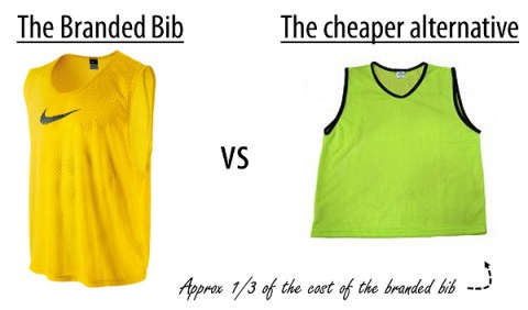 Cheap football bibs vs branded bibs