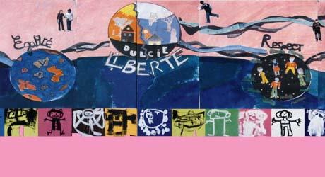 Détail de la fresque réalisée par les élèves du collège Dulcie-September d'Arcueil (94)