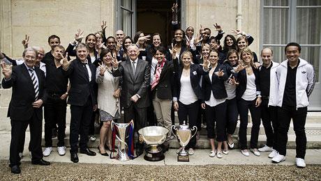 Najat Vallaud-Belkacem reçoit l'Olympique lyonnais féminin.