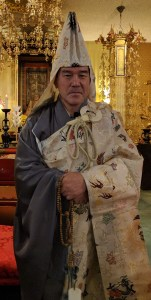 Ven. Kenjo Igarashi in a special robe for the Nichiren Memorial service