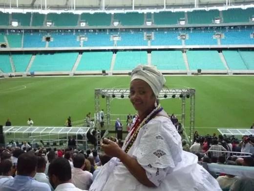 Rita dos Santos, 56 anos, no estádio durante a Copa das Confederações