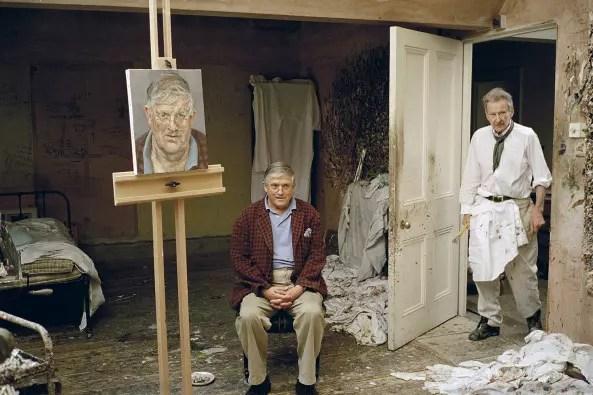 Pintando o também pintor David Hockney, em 2002
