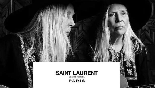A cantora Joni Mitchel, 71,  foi a escolhida pela gripe Saint Laurent