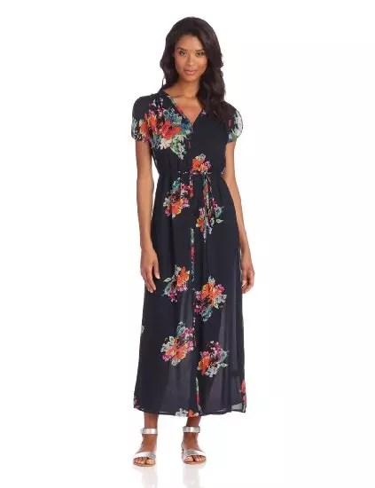 Vestido longo, com motivos florais