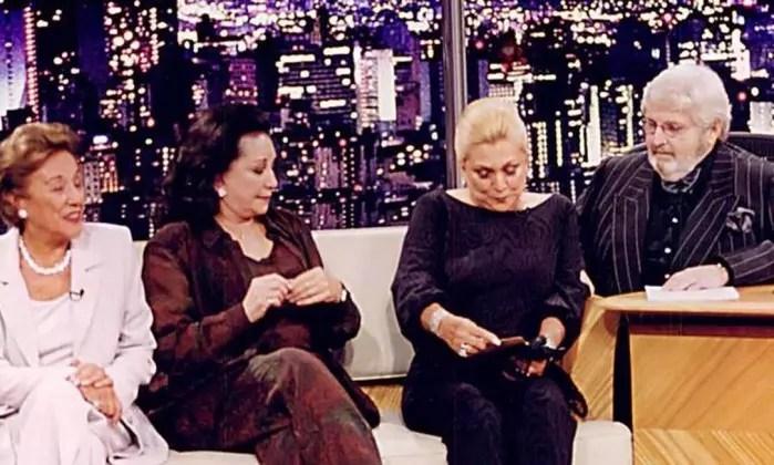 """Nair Bello, Lolita Rodrigues e Hebe Camargo estavam na estreia do """"Programa do Jô"""", em abril de 2000Foto: TV"""
