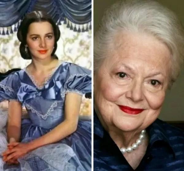 Olivia no filme, em 1942, e agora, aos 100 anos, completados em primeiro de julho