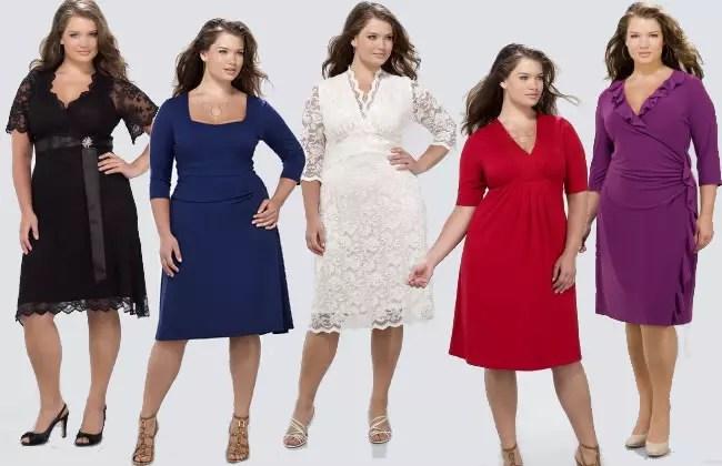 Cinco modelos de vestidos, mas todos com o mesmo comprimento