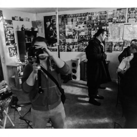 Videographer Sean Allen (Ivity Studios) at a Halloween gathering.