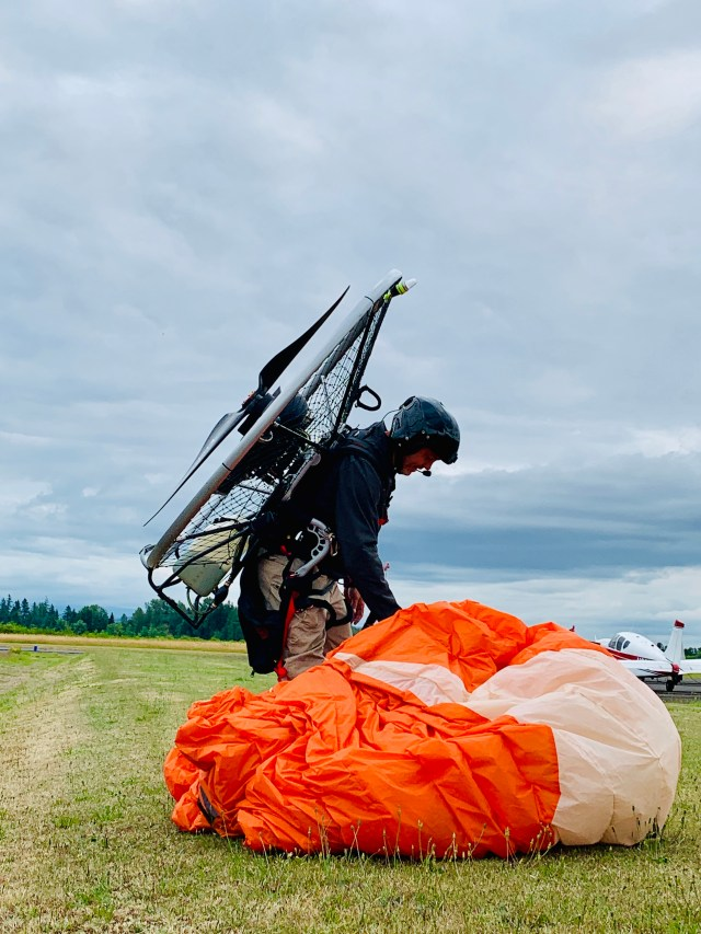 Harley with his Powered Paragliding Paramotor