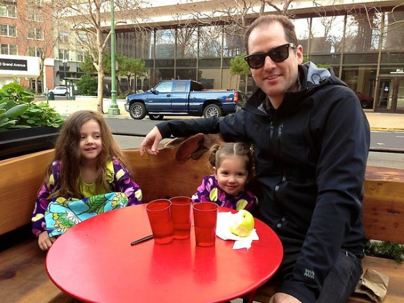 two kids with dad in oakland