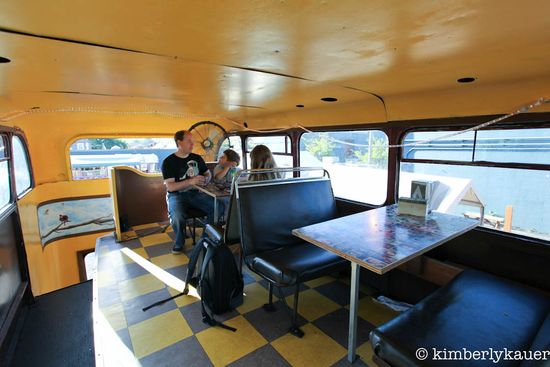 Eating grilled cheese on a double decker bus in Portland, OR