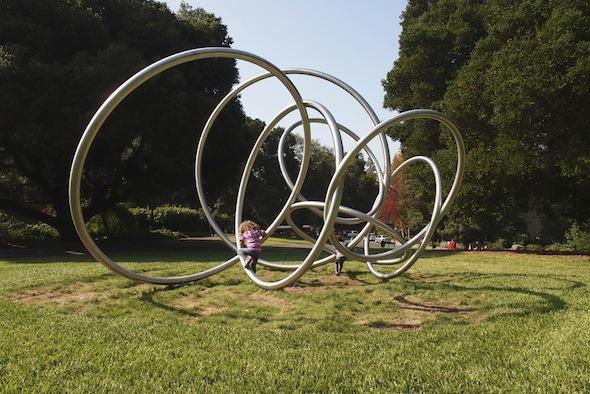 Circular sculpture at UC Berkeley is great for climbing