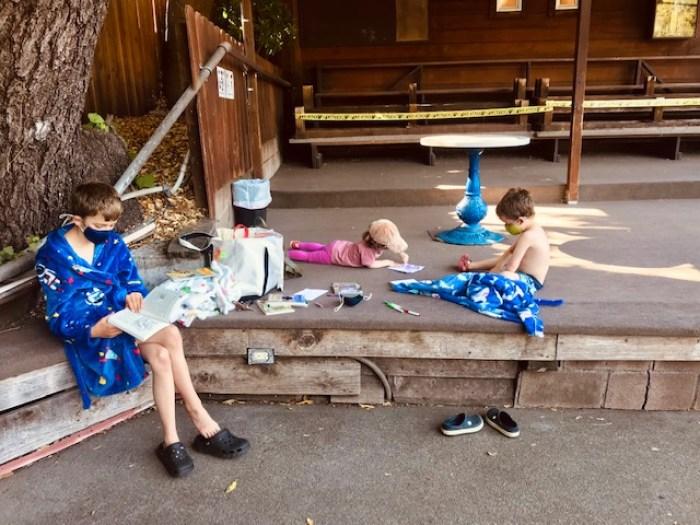 Kids waiting for swim class