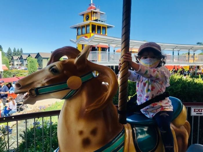 toddler riding carousel horse