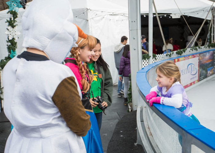 Walnut Creek on Ice with characters from Frozen