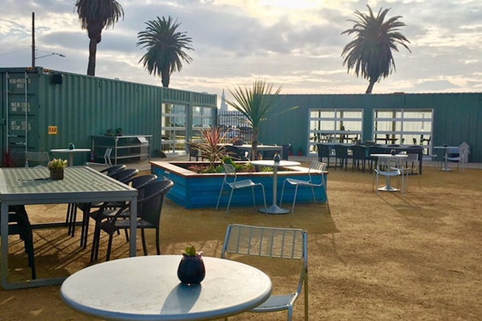Dine inside a real shipping container at Mersea