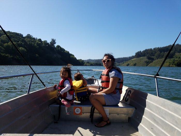 On Lake Chabot with kids