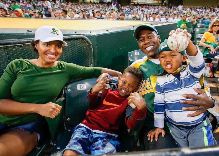 Family at baseball game