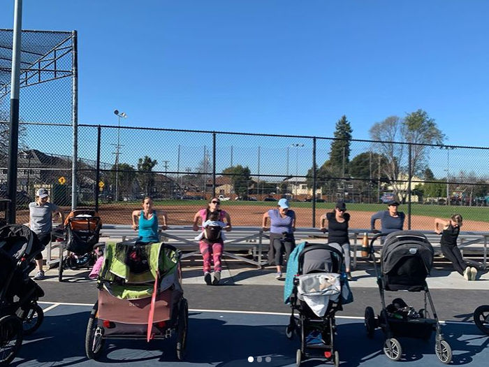 Parent and baby exercise class