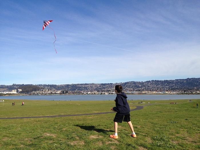 Flying kite at cesar chavez park