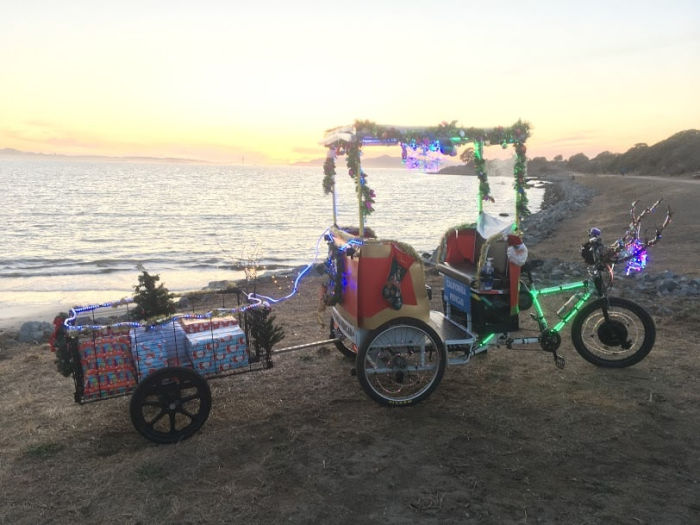 christmas pedicab on the seashore