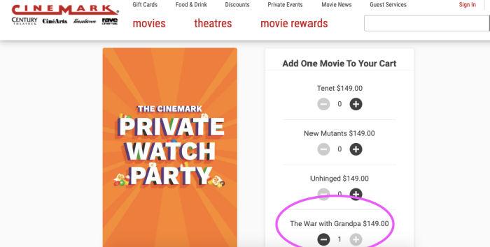 cinemark private watch