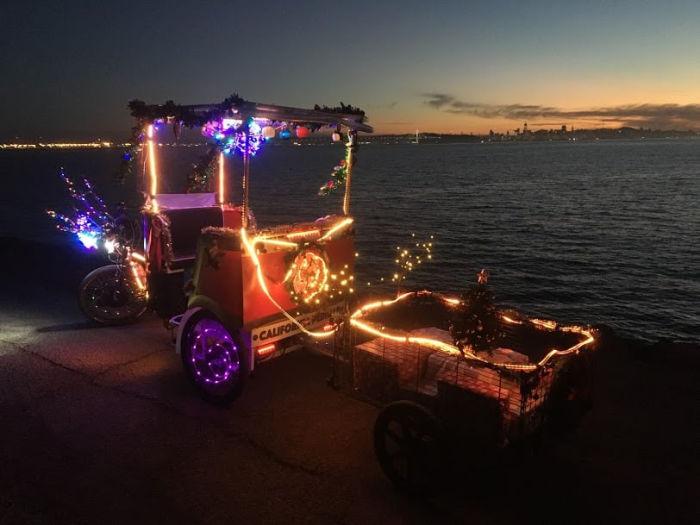 Pedicab with christmas lights