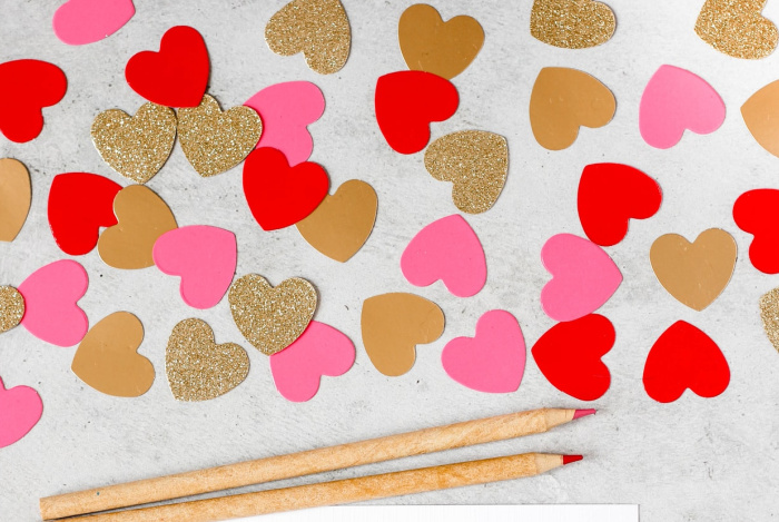 hearts and pencils