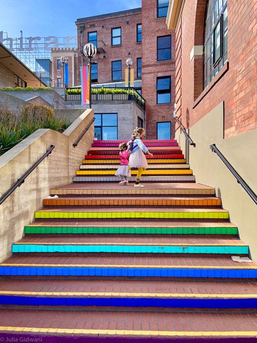 Rainbow stairs in Ghirardelli Square. | Photo: Julia Gidwani