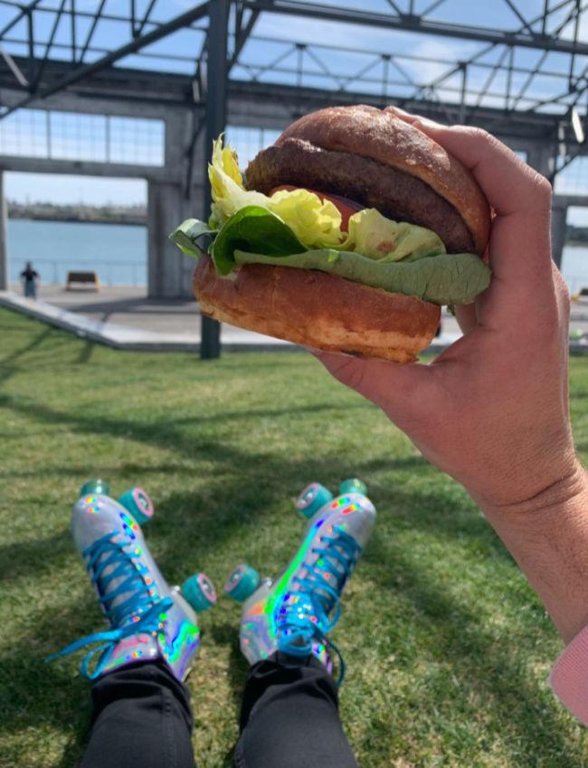 burger and roller skates