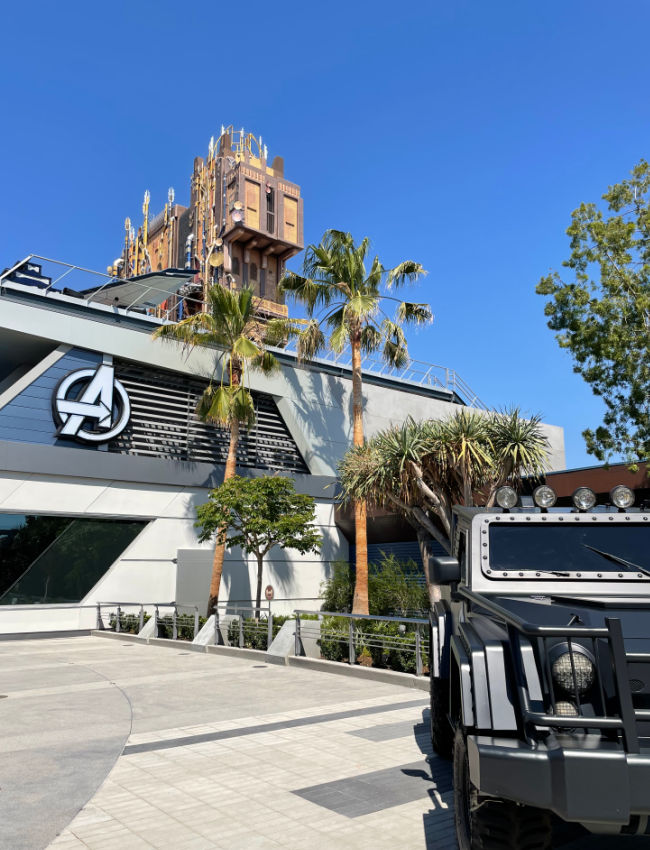 Avengers campus at California Adventure two buildings and truck