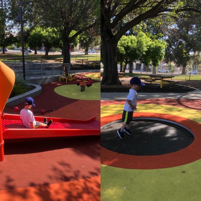 roller slide and mini trampoline