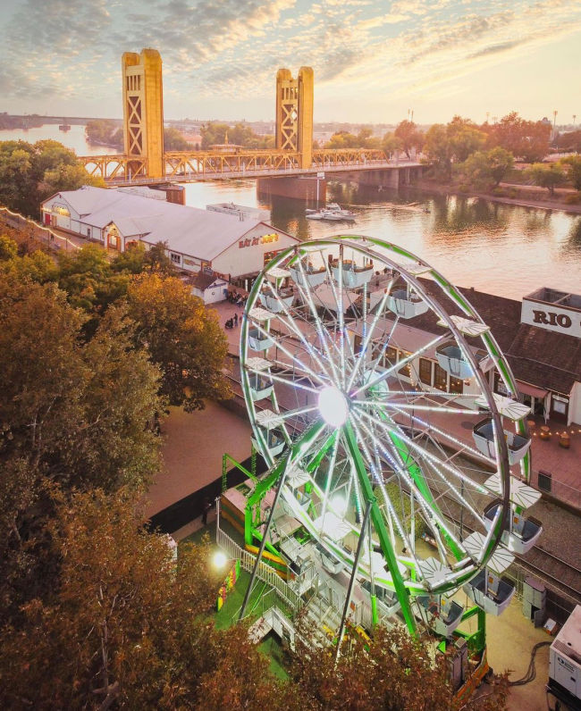 river and ferris wheel