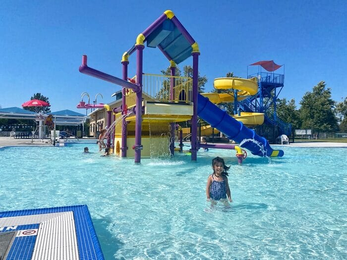 toddler at livermore aquatic center water playground