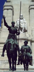 Don Quijote und Sancho Panza auf der Plaza de España in Madrid, im Hintergrund sitzend Cervantes