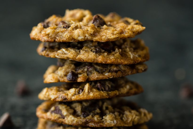 stack of cookies with black background