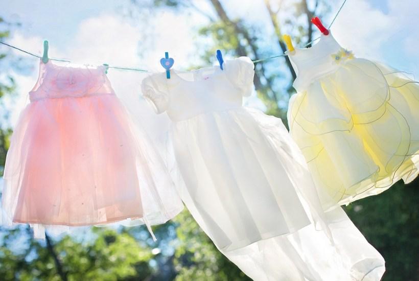 girls dresses on laundry line