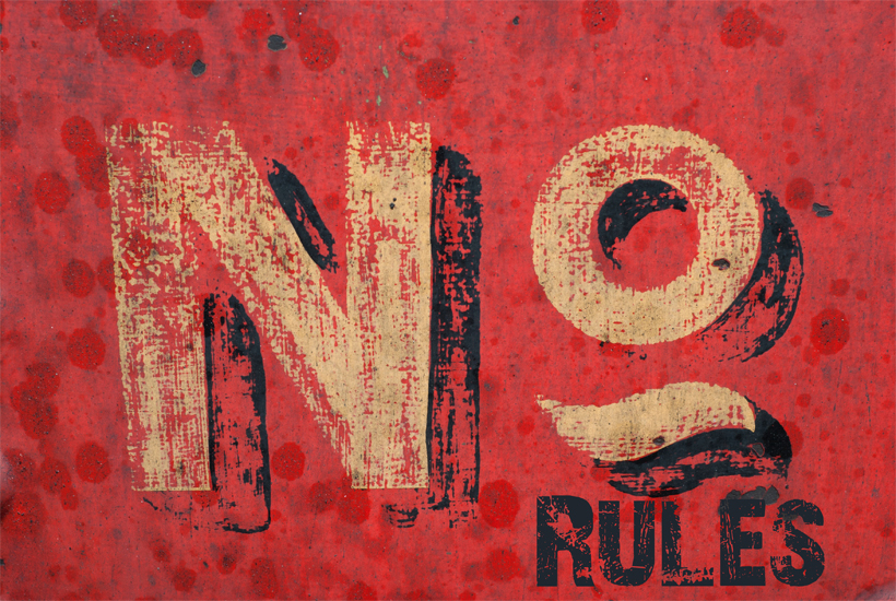 Old sign with No Rules 5 Dog Farm