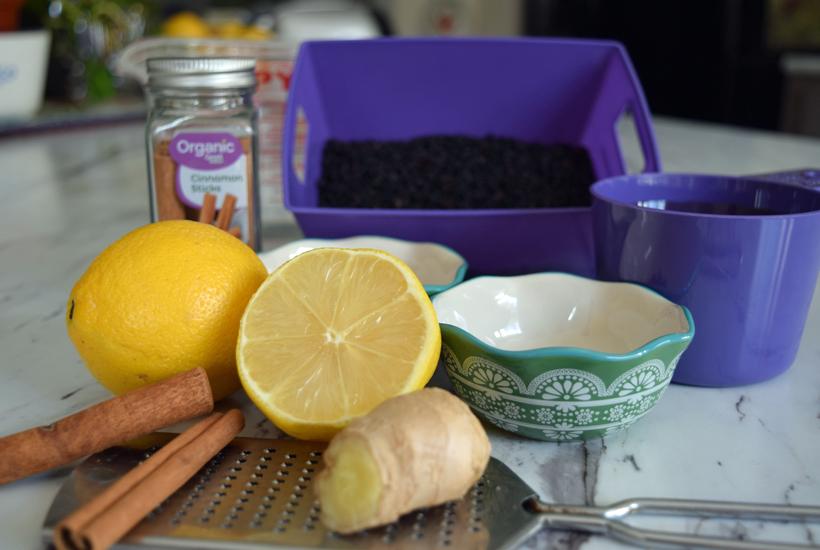 Elderberry Syrup all ingredients 5 dog farm